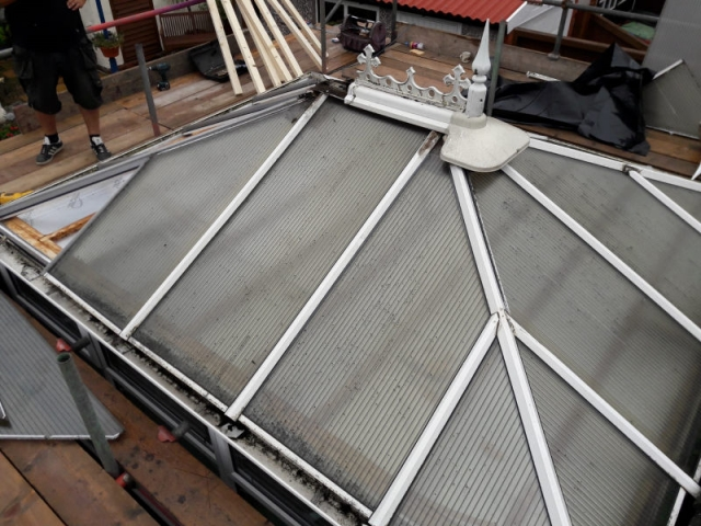 Old conservatory roof in Blackpool